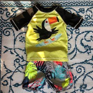 Toddler 3t swim shorts and rash guard